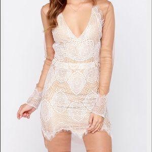 For Love & Lemons XS white lace overlay dress